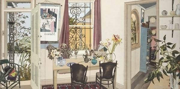 Cressida Campbell, Interior with poppies (Margaret Olley's house)
