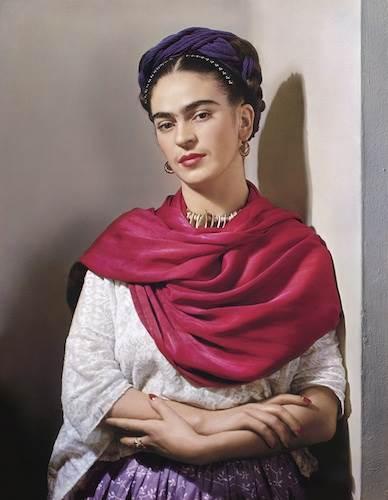 Nickolas Muray, Frida Kahlo with red 'rebozo'