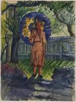 GRANT, W.G. Australia, Woman with blue parasol