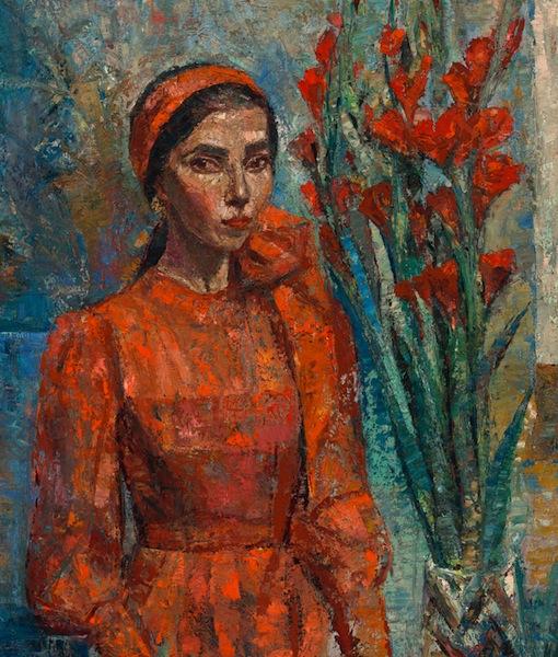 Yvette Coppersmith, Self-portrait with gladioli