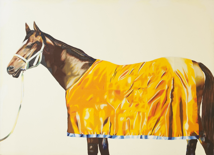 Jenny Watson, Horse series painting no. 9: with yellow rug