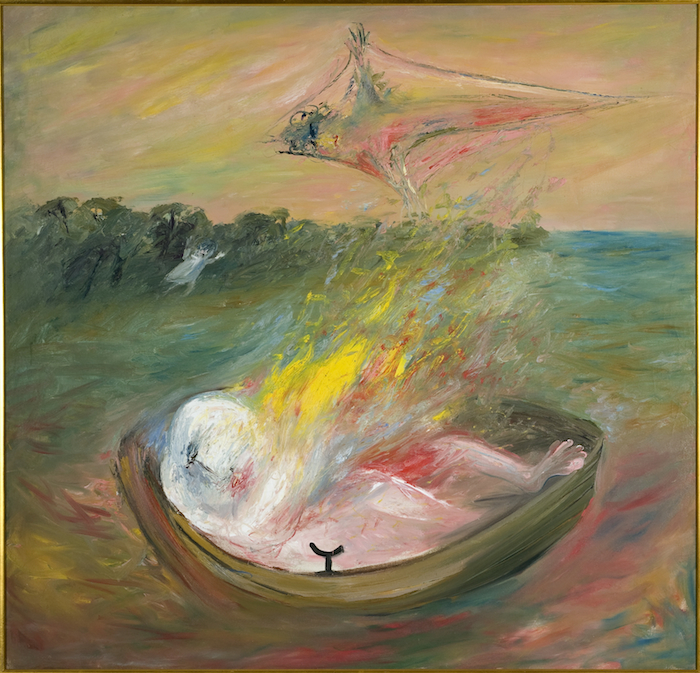 Arthur Boyd, Lovers on fire in boat with kite