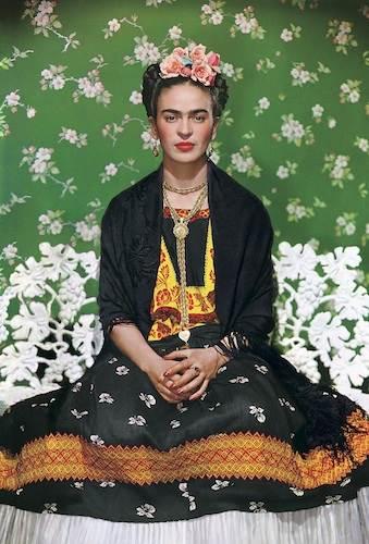 Nickolas Muray, Frida Kahlo on white bench