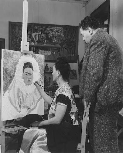 Bernard Silberstein, Frida paints self-portrait while Diego observes