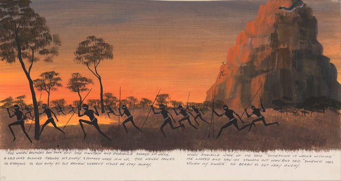 Goobalathaldin Dick Roughsey, The Wangu brothers ran down off the mountain...